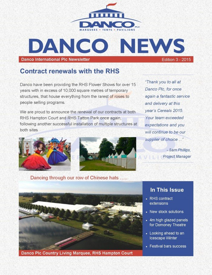 Danco Summer Newsletter_September 2015